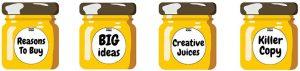 Four honey jars showcasing our copywriting qualities