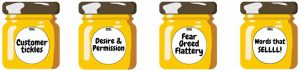 Four honey jars with Sticky Words copywriting skills on the labels
